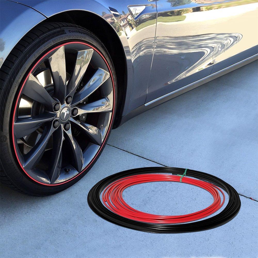 Wheel Bands Red Insert in Black Track Pinstripe Rim Edge Trim