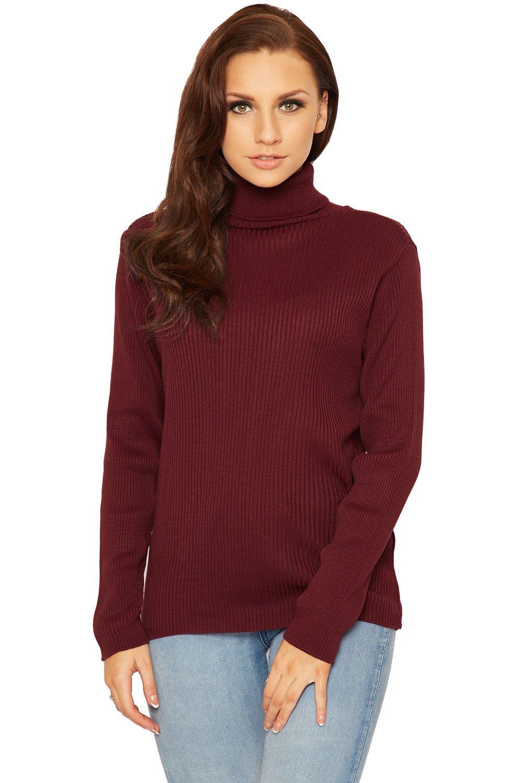 Women Long Sleeve Knitted High Roll Neck Jumper ApplesBottom