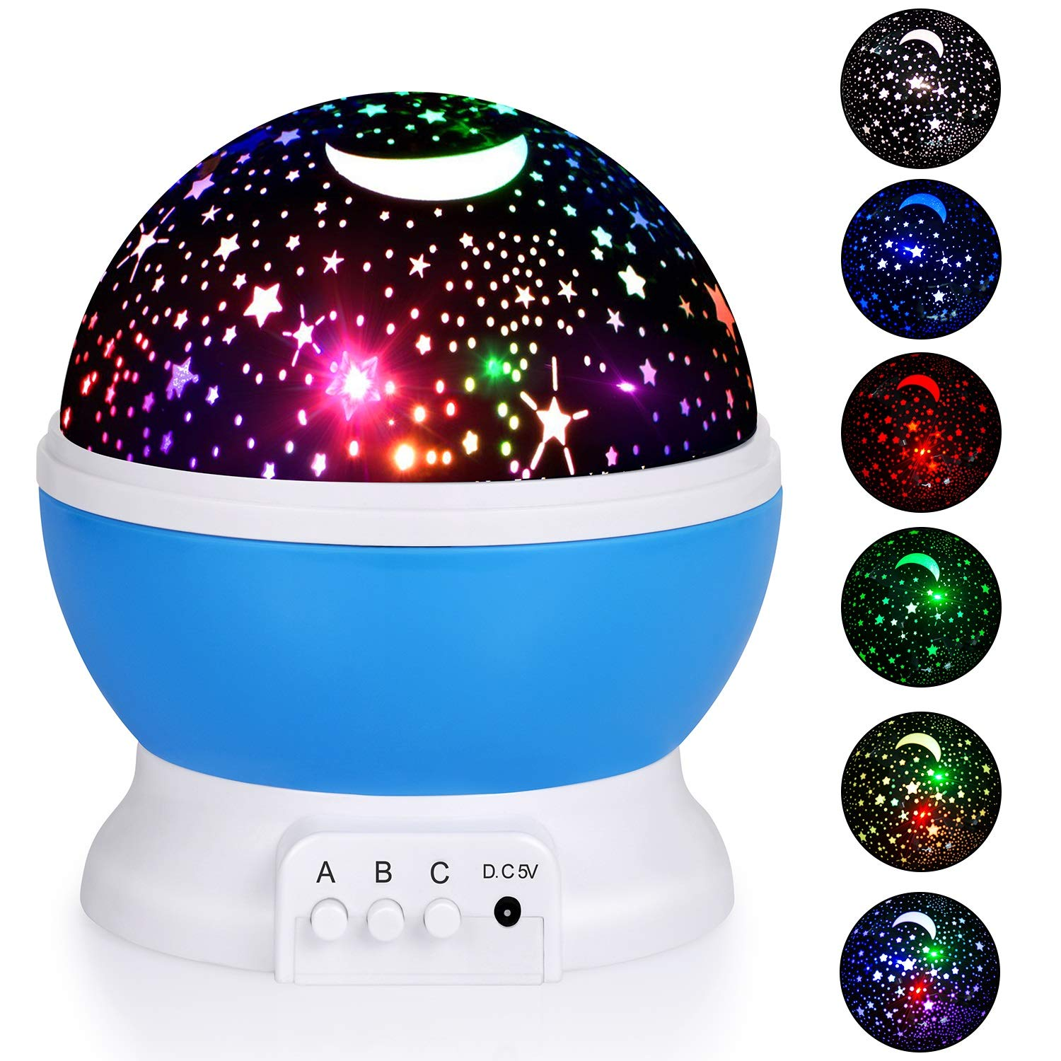 Night Lights for Kids, Baby Night Light, Starry Night Light Rotating Moon Star Projector, Romantic Night Lighting Lamp, 4 LED Bulbs 8 Modes with USB Cable, Bedside Lamp Best for Bedroom Nursery (Blue) Cynkie