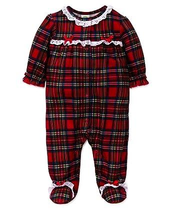 0d55b427c Amazon.com  Little Me Baby Girl s Girls Plaid Christmas Footie  Clothing