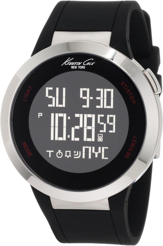 Kenneth Cole KC1639 - Reloj de Caballero de Cuarzo, Correa de Silicona Color Negro (con Alarma, cronómetro)