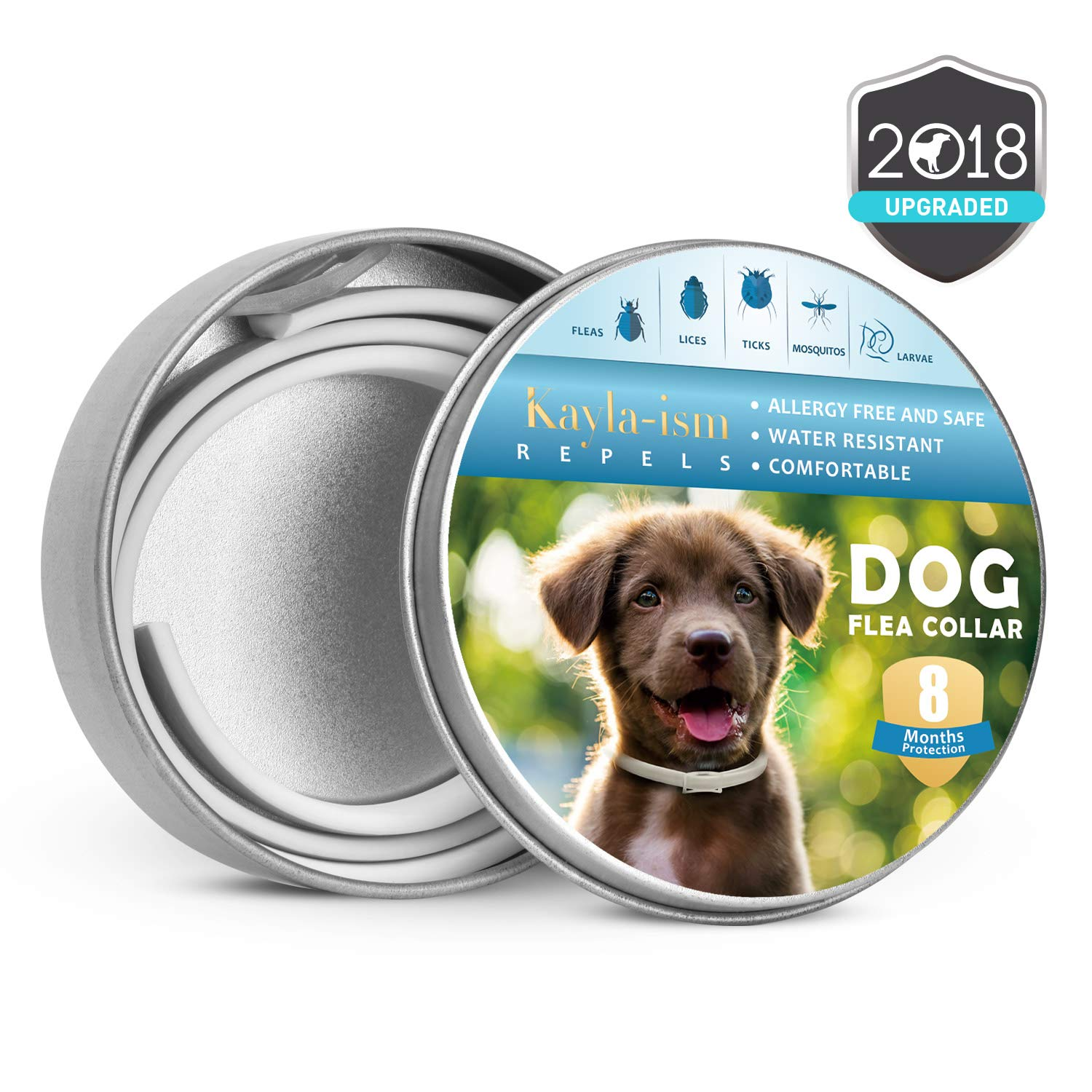 Kayla-ism Dog Flea and Tick Collar, Natural and Essential Oils, Waterproof, One Size Fits All, 8 Months Full Protection, Healthy and Harmless