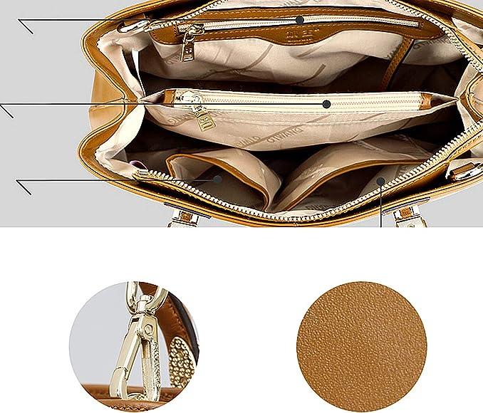 Fashion Splicing Totes Oil Skin Ladies Big Bag Large Capacity Shoulder Top-Handle Bags Work Shopping Date Qzny Womens Handbag Color : C, Size : 332214cm