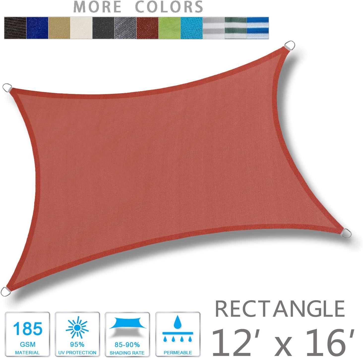LOVE STORY 12' x 16' Rectangle Terra Red Sun Shade Sail Canopy UV Block Awning for Outdoor Patio Garden Backyard : Garden & Outdoor