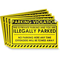 """Parking Violation Stickers for Cars (Fluorescent Yellow) - 100 No Parking Illegally Parked Cars in Private Parking Areas/Hard to Remove Super Sticky No Park Tow Warnings 8"""" x 5"""" by MESS"""