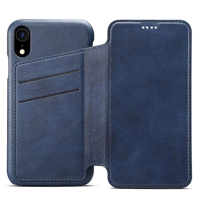 Apple iPhone 6 6s 7 8 Plus X XS XS Max XR Leder Handy Hülle Flip Case Handytasche Cover Schale mit Kredit Karten Fach Geldbör