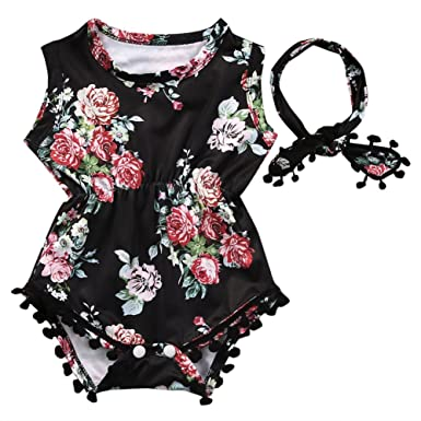 eac6ded2eff9 Lovely Baby Girl Romper Clothes 2017 Summer Floral Tassel Bodysuit Jumpsuit  +Headband 2PCS Outfit Sunsuit Tracksuit Clothing Set  Amazon.co.uk  Clothing