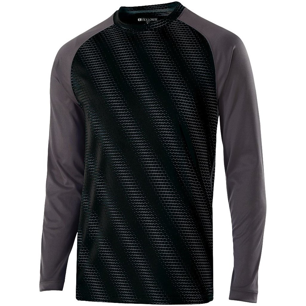 Holloway Youth Torpedo Semi-Fitted Long Sleeve Shirt (Small, Black/Carbon) by Holloway