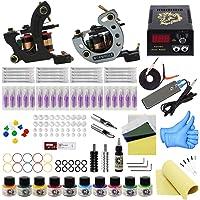 Wormhole Tattoo Complete Tattoo Kit 2 Pro Tattoo Machine for Beginners Tattoo Power Supply Kit 10 Tattoo Inks 20 Tattoo Needles Tattoo Supplies TK1000040