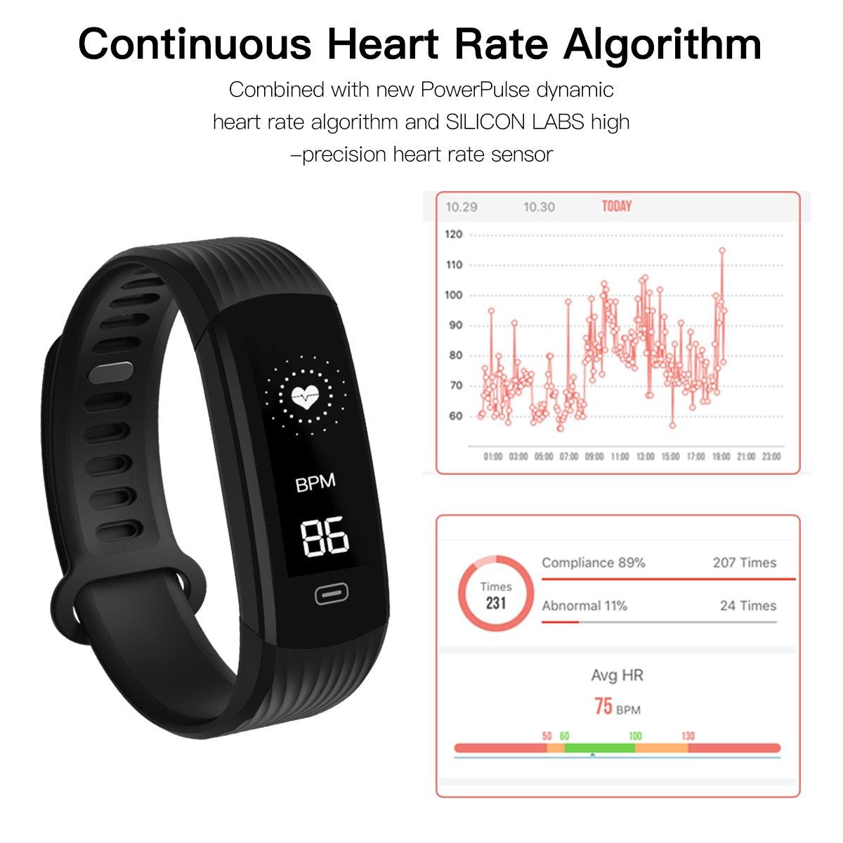 Hizek Montre Connectée, Bracelet Fitness Tracker Sport Smartwatch Fitness Tracker d\'Activité avec Cardiofréquencemètre Poignet Moniteur de Sommeil Femme Homme pour iPhone Huawei Samsung Xiaomi - Noir