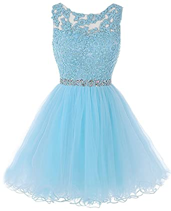Heisok Applique Beading Short Homecoming Dresses Sequined Lace Cocktail Prom Gowns 01A 2 Blue