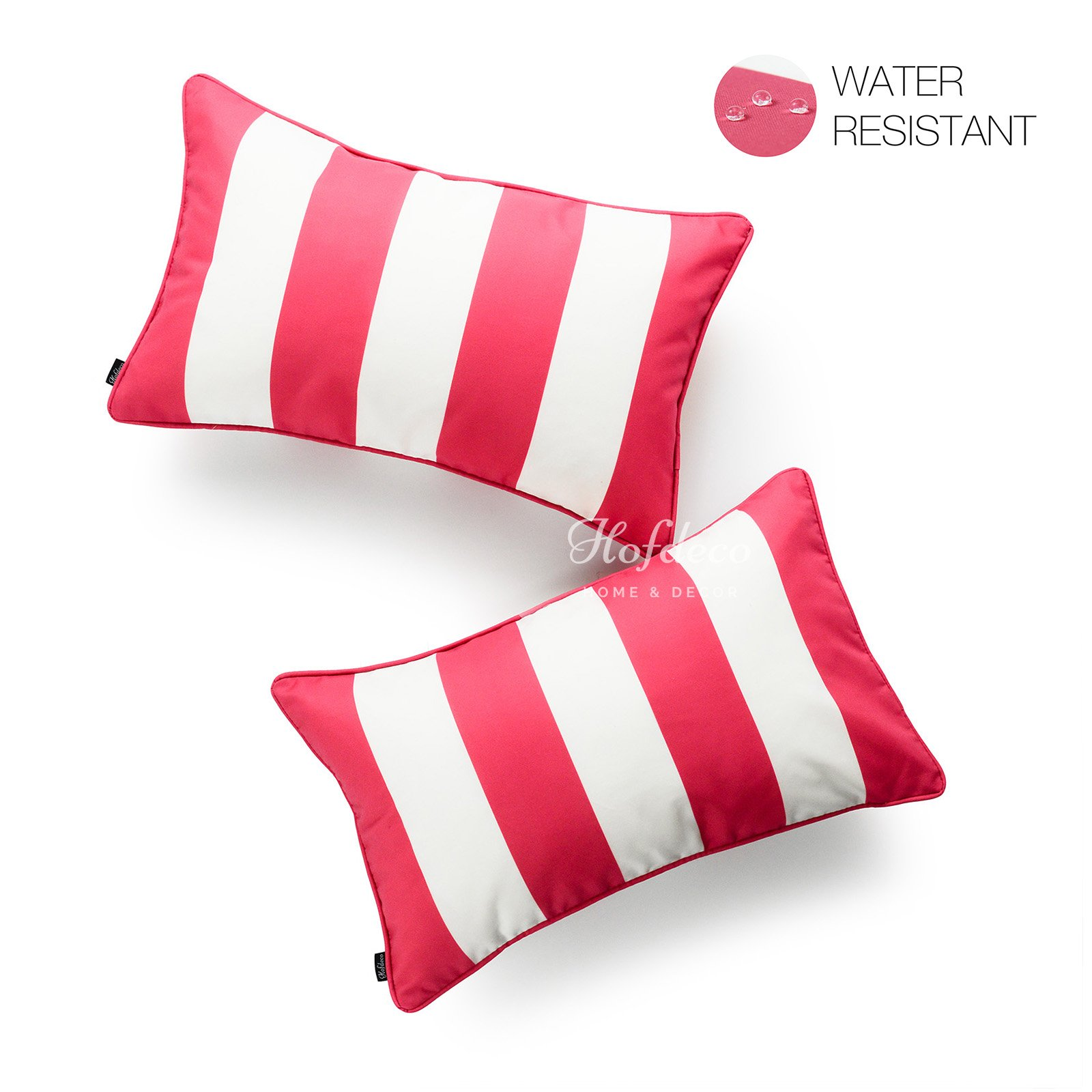 Hofdeco Decorative Lumbar Pillow Cover INDOOR OUTDOOR WATER RESISTANT Canvas Hot Pink Stripes 12''x20'' Set of 2