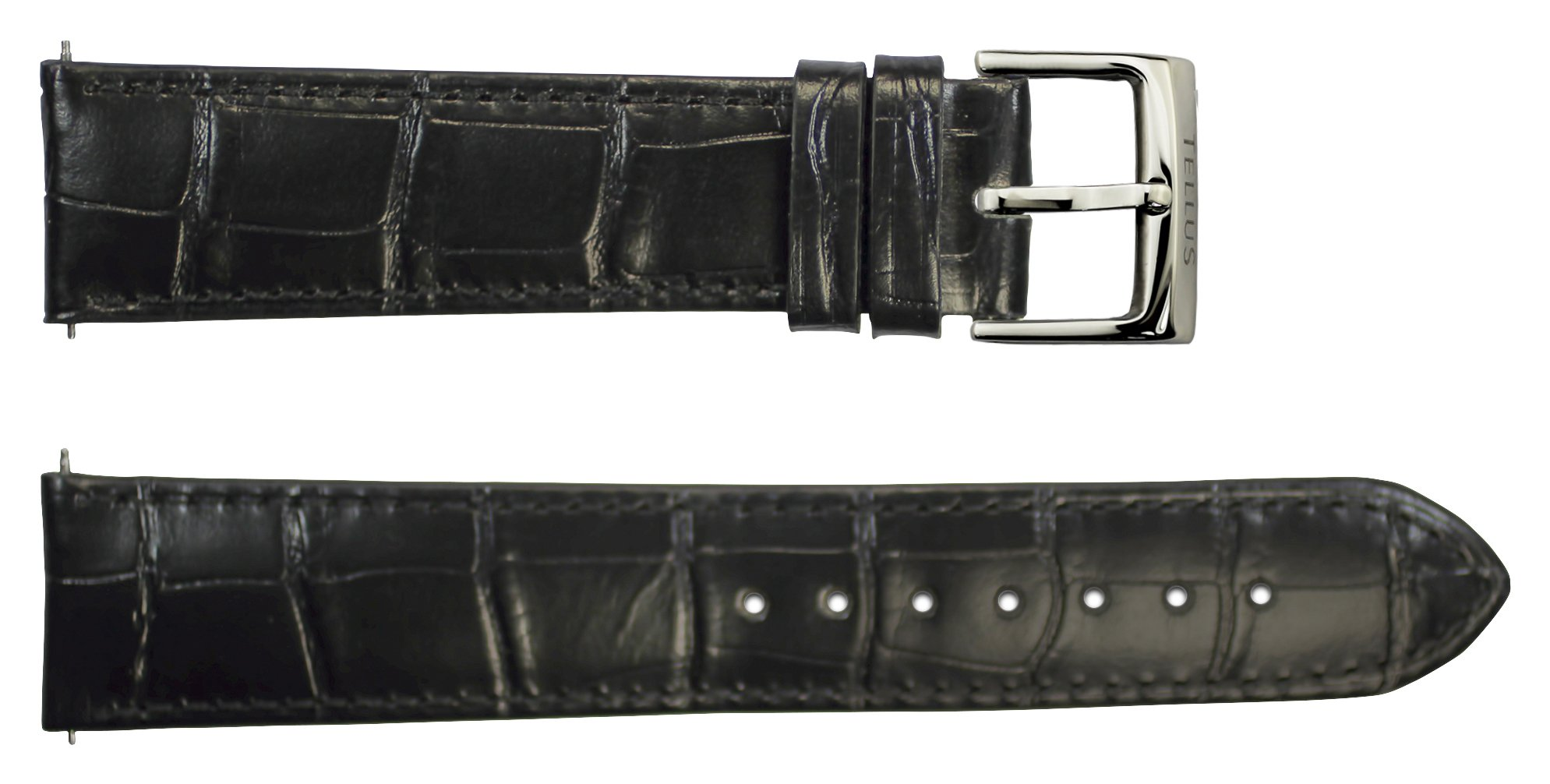 Tellus Quick Release Black Alligator Leather Band Replacement Pin Clasp, 20mm Strap - B20040