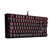 Redragon K552-UK KUMARA RED RGB LED Backlit Mechanical Keyboard 87 Key Compact Mechanical Gaming Keyboard, Blue Switches PC Computer Illuminated Gaming Keyboard (UK-Layout)