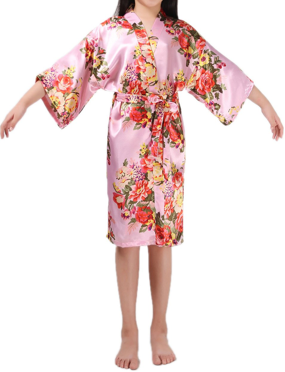 Shiny Toddler Little Girls Floral Satin Robe Flower Girl Lounge Bathrobe 2 to 3,Pink by Shiny Toddler