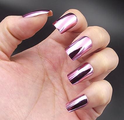 YUNAI Metálico Uñas postizas Rojo púrpura Espejo Shinning Cuadrado Talla mediana Uñas falsas