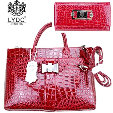 9d42aea7367e LYDC Exotic Glitter Briefcase Laptop Bag Red With Matching PurseCroc Print  Clutch Evening Bag Purse: Amazon.co.uk: Shoes & Bags