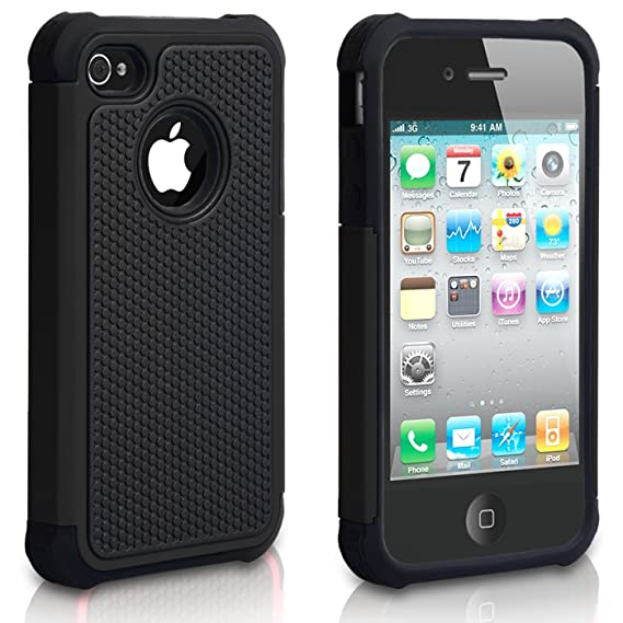 huge selection of 80f6e 5ab2f iPhone 4 Case, iPhone 4S Case, CHTech Shockproof Durable Hybrid Dual Layer  Armor Defender Protective Case Cover for Apple iPhone 4S/4 (Black)