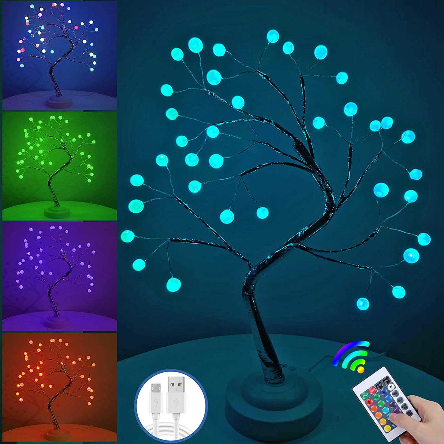 Home Decorations for Living Room Decor - 16 Color Changing Artificial Bonsai Tree Night Light, with Timer, for Bedroom, Bedside Table Lamp, Christmas, Halloween, Party, House and Aesthetic Room Decor.