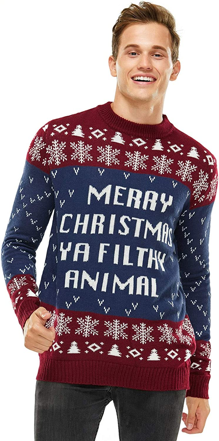 Unisex Men's Ugly Christmas Sweater Knit Funny Fairisle Pullover