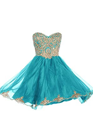 99Gown Prom Dresses Short Lace Prom Homecoming Dresses Affordable Beautiful Sparkly Dress, Color Turquoise,