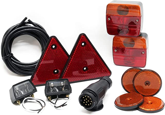 Rückleuchten Set Für Anhänger 12 Teilig 13 Poliger Stecker 5m Kabel Rücklicht Mit E Prüfzeichen Auto