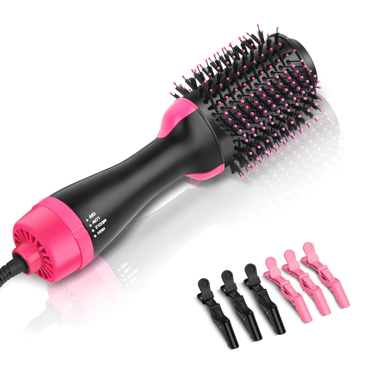 Growom One Step Hot Air Brush, Hair Dryer, Straightener, Curler, Hair Styler, Designer and Volumizer, with 3 Pcs Black and 3 Pcs Pink Plastic Alligator Hairgrips for All Hairstyles