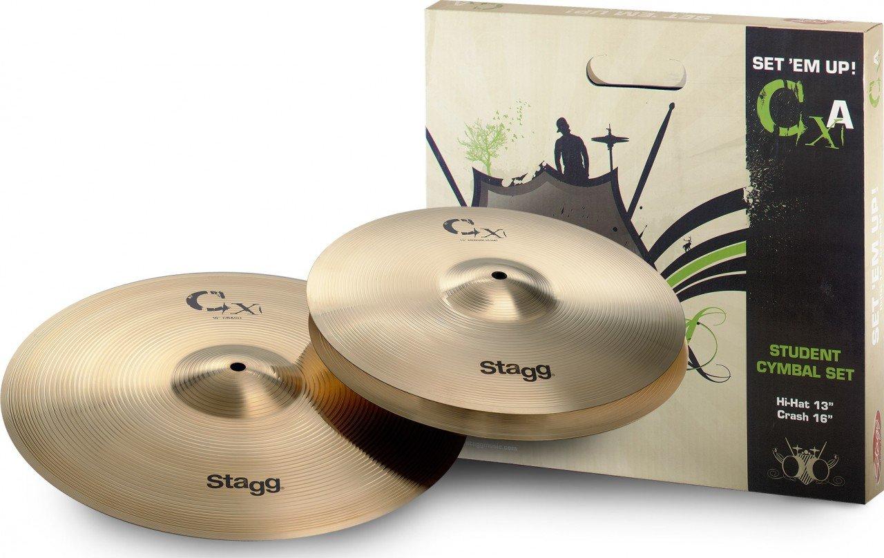Stagg CXA SET Set de Cymbale brass h13 + c16 Brillant Cymbales/Cymbales Crashs