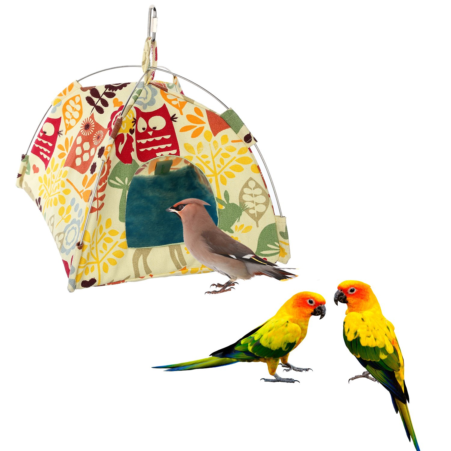 Jusney Bird toys Bird Hammock Parrot Hanging Tent Budgerigar Dual Layer Nest Parakeet Cave Tent for Medium Birds (Big)