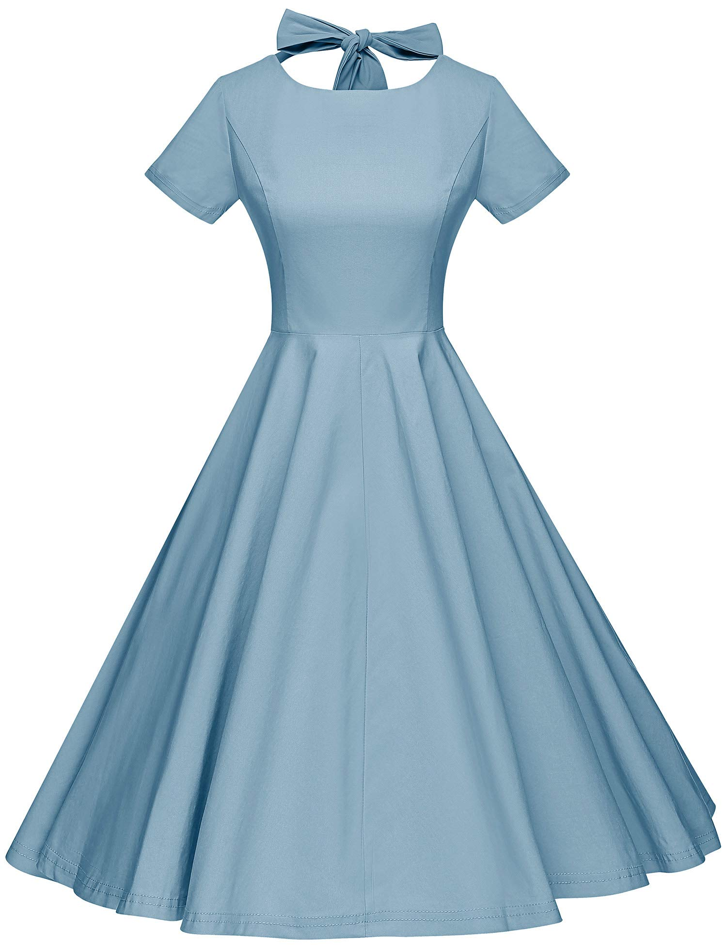 ca22569192 GownTown Womens 1950s Vintage Retro Party Swing Dress Rockabillty Stretchy  Dress Stone Blue