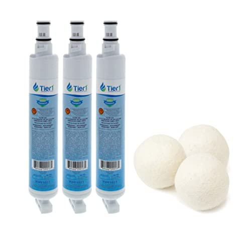 Tier1 Replacement for EveryDrop EDR6D1 4396701 Whirlpool Comparable  Refrigerator Water Filter Bundled with Fabric Softening Wool Dryer Ball (3  Pack)