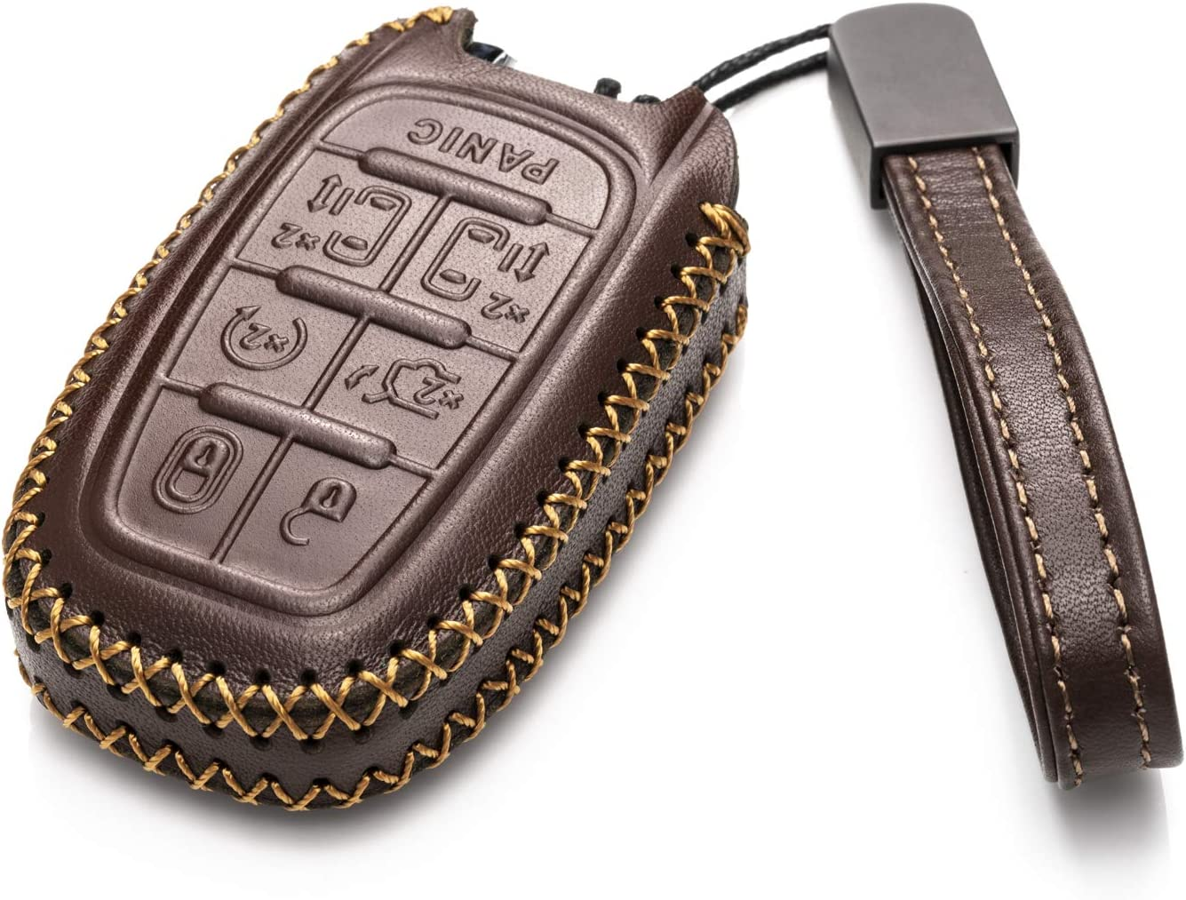 Vitodeco Genuine Leather Smart Key Fob Case Cover Protector with Leather Key Chain for 2017-2020 Chrysler Pacifica 7-Button, Brown
