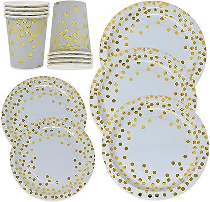 Amazon.com: Juego de 150 platos de papel desechables y tazas ...