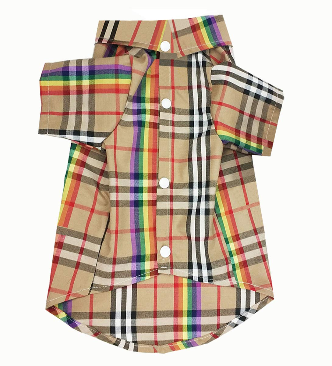 HOODDEAL Pet Clothes Casual Classic Dog Short Sleeve Plaid Button Up Woven Shirt Cozy Colorful and Khaki Dog Outfits Adorable Christmas Costumes for Small Medium Puppy (Khaki, XXL)