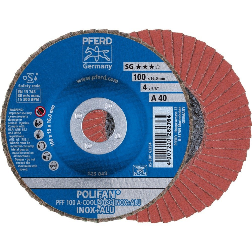 PFERD Polifan SG CO-COOL Abrasive Flap Disc, Type 27, Round Hole, Phenolic Resin Backing, Aluminum Oxide, 4-1/2'' Dia., 120 Grit (Pack of 1)