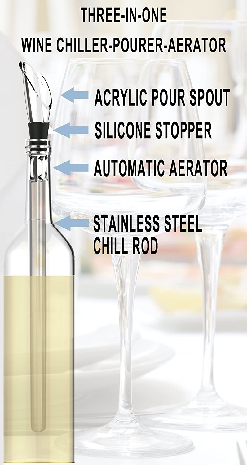 a6954eff Amazon.com: The Original Wine Wand - Wine Pourer, Aerator & Iceless Chiller  by Chef Caron 3 in 1 Accessory - Perfect Gift for Any Wine Lover .