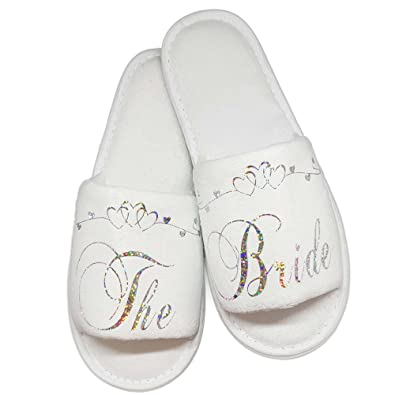 7ff572d9ba8 Bride Bridesmaid Slippers Bridal Guest Wedding   Hen Night Guest Role  Sparkling Silver and Heart Scroll  Amazon.co.uk  Shoes   Bags