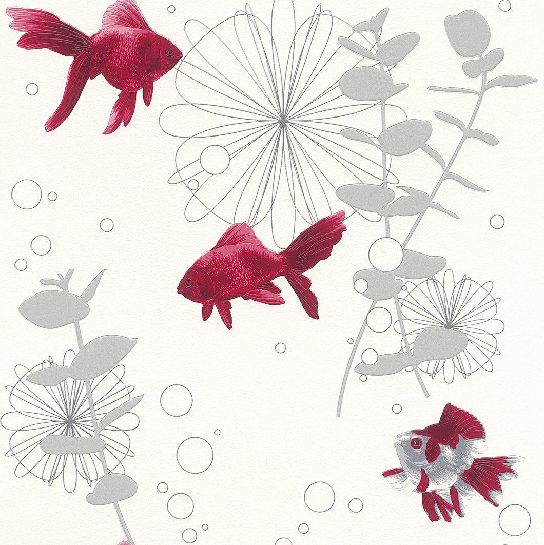Decoration Salle De Bain Papier Peint ~ rasch papier peint blanc argent rouge 817539 poisson aqua