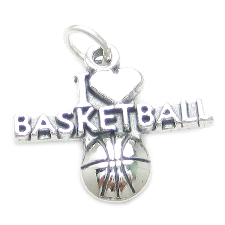 I Love Baloncesto dije plata esterlina .925 x 1 baloncesto charms ...