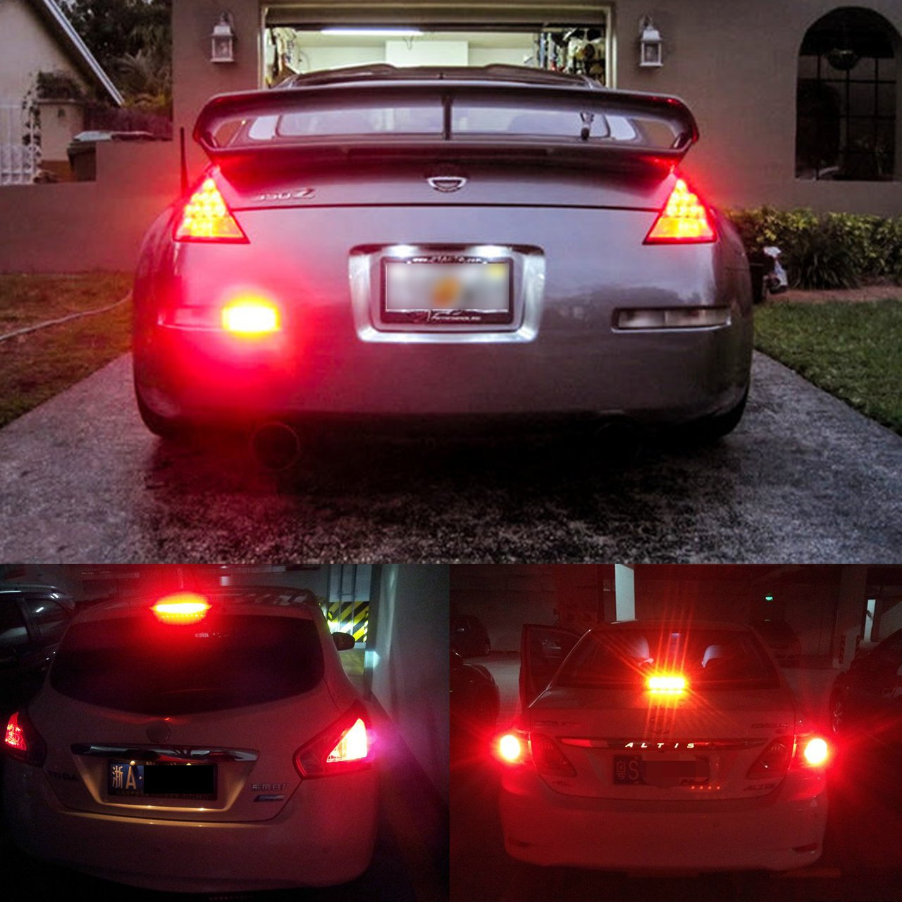 Pack of 2 KATUR 3157 3047 3057 3155 3156 Led Light Bulb 900 Lumens 3014 78SMD Lens LED Bulbs for Brake Turn Signal Tail Backup Reverse Brake Light Lamp,Brilliant Red