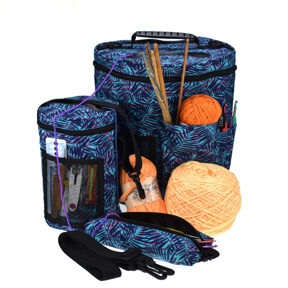 Knitting Bag Yarn Storage - 600D Oxford Yarn Storage Bag - Large Crochet Organizer Bag with Knitting Accessories Case - Pack of 3 (Blue)