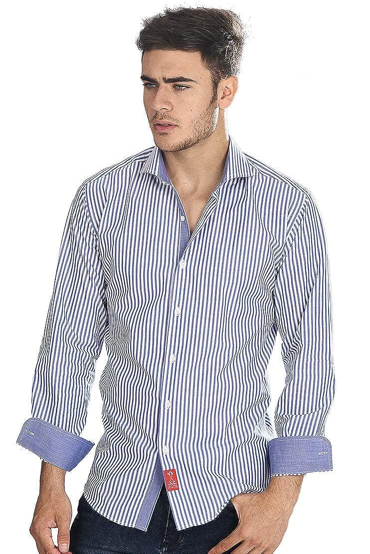 Camisa manga larga de vestir, semientallada con rayas clásicas de color blanco y azul marino para hombre