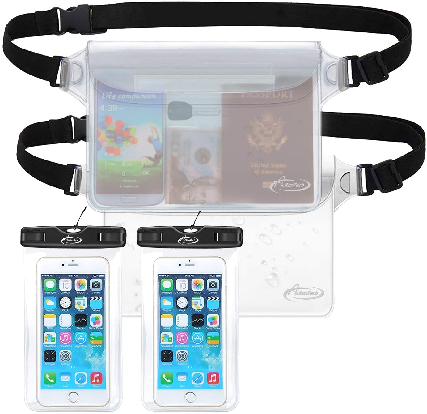 AiRunTech Waterproof Cell Phone Bag, 4 Pack Waterproof Dry Bag for Fishing, Sledding,Skating,Skiing,Snowshoeing Universal Waterproof Pouch for iPhone(2 Phone case(Clear) + 2 Fanny Pack(Clear))
