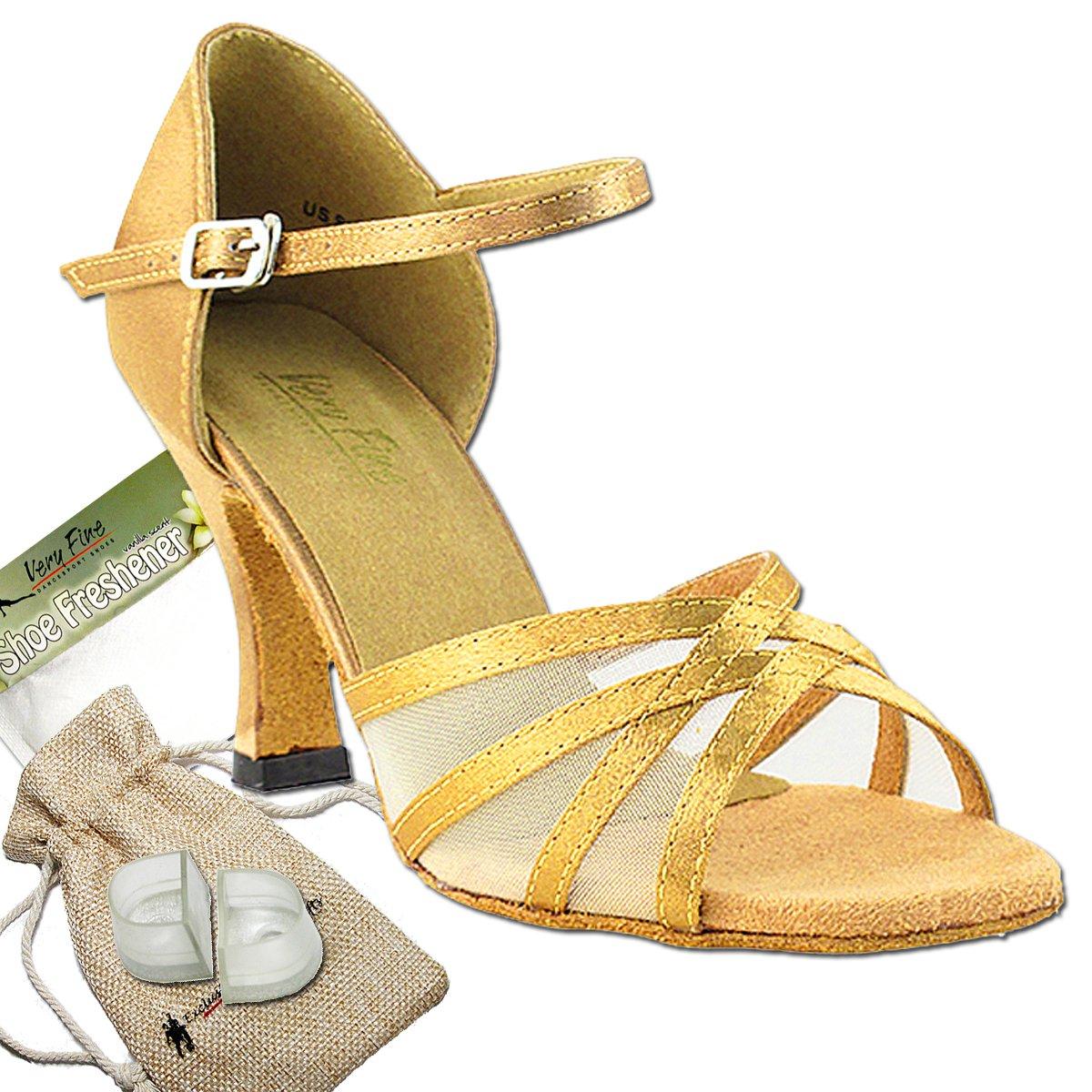 Women's Ballroom Dance Shoes Tango Wedding Salsa Dance Shoes Brown Satin & Flesh Mesh 6027EB Comfortable - Very Fine 2.5'' Heel 7.5 M US [Bundle of 5]