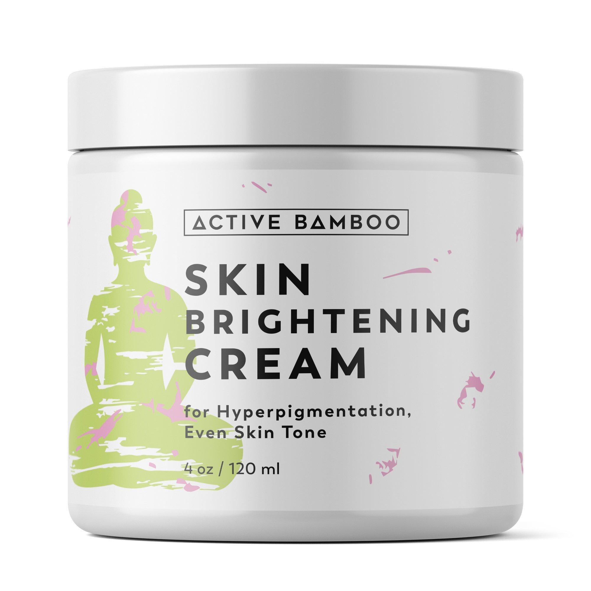 Whitening Cream. Anti Aging Skin Lightening Cream - Dark Spot Corrector Age Spot Remover for Face - Day Night Moisturizing Cream 4 OZ by Active Bamboo