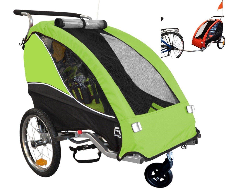 Papilioshop Fox - Remolque con carrito de bicicleta para el transporte de 1 niño (incluye rueda delantera giratoria, plegable), Verde: Amazon.es: Deportes y ...