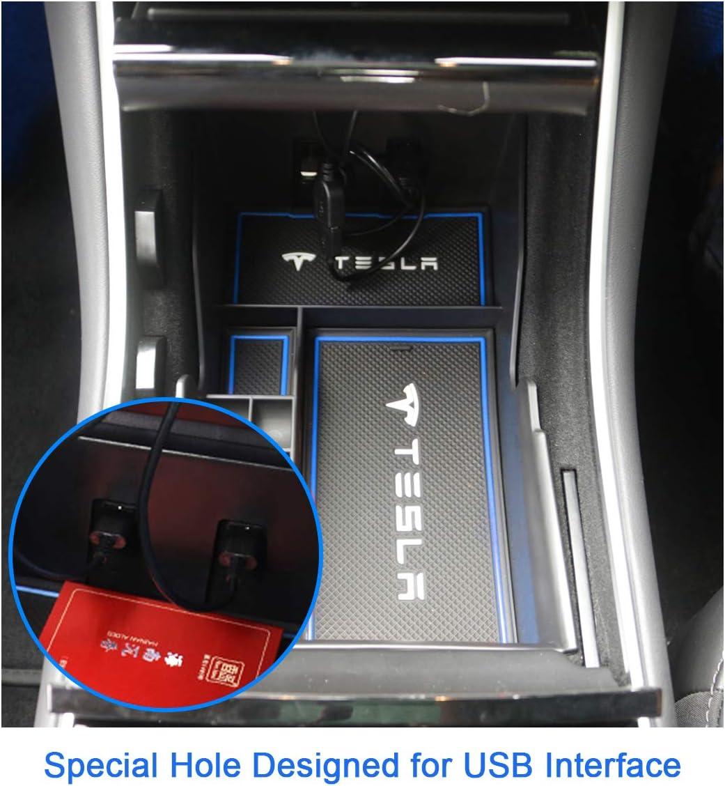 Bleu CDEFG pour Model 3 Bo/îte de Rangement de Voiture Console Organizer Conteneur