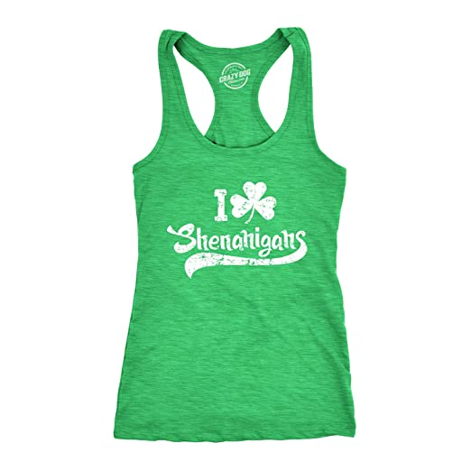 43b8613f Womens I Clover Shenanigans Tank Top Funny Clover Shamrock Shirt (Heather  Green) - S