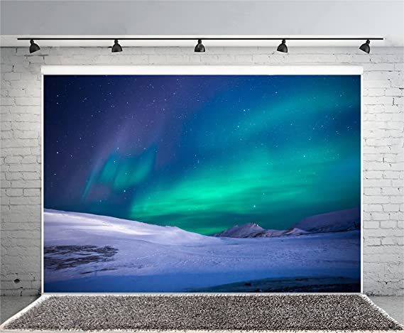 Aurora Borealis 8x6 FT Vinyl Photography Background Backdrops,Psychedelic Sky on Nordic Camping Radiant Energy Image Background for Photo Backdrop Studio Props Photo Backdrop Wall