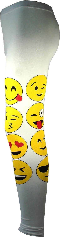 Le ragazze Fuseaux Emoji Emoticons Fronti di smiley del pantaloni elastici inferiori Bambini nuova et/à 7 9 11 13 anni